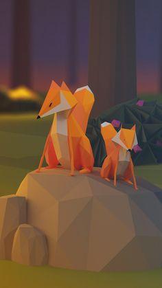 Polygon Foxes #glitchy #art #animals