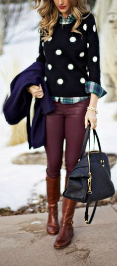 Polka dots + plaid <3