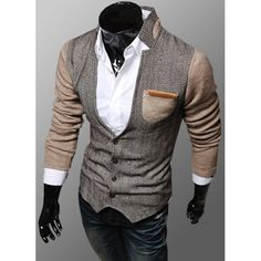 Trendy PU Leather Embellished Pocket Stand Collar Slimming Fabric Splicing Long Sleeves Coat For Men Best Winter Jackets, Cheap Trendy Clothes, Latest Mens Fashion, Men Fashion, Fashion Site, Cheap Fashion, Fashion Pants, Fashion Online, Mens Winter Coat