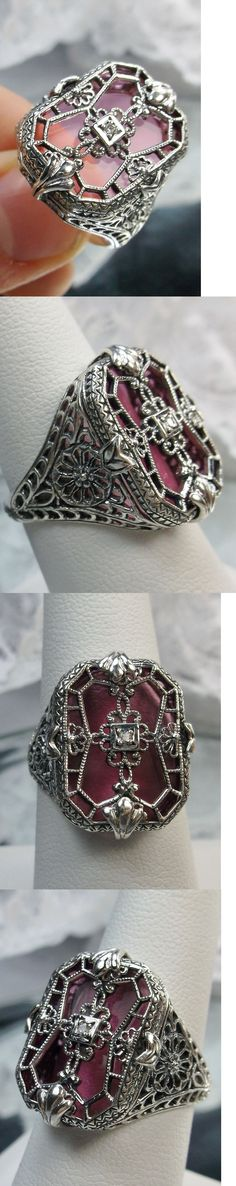 Other Fine Rings 177030: Rose Glass Solid Sterling Silver 1930S Art Deco Design Filigree Ring Size: 8 -> BUY IT NOW ONLY: $52 on eBay!