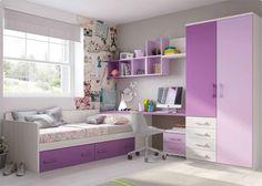 Infantil con cama nido y armario con cajones