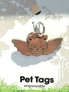 Guardian Angel Cat Pet Tag - Pewter