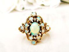 Vintage Opal Cluster Ring Alternative by LadyRoseVintageJewel #opalsaustralia