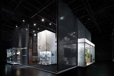 The exhibition stand designed by Ippolito Fleitz Group for Burkhardt Leitner constructive showcases creative ways of employing its modular architecture systems. Exhibition Stand Design, Exhibition Stall, Exhibition Display, Exhibition Room, Exhibition Ideas, Trade Show Design, Display Design, System Architecture, Architecture Design