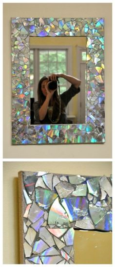 DIY mirror made from pieces of CD's glued to mirror. Looks great. Also good on planters..