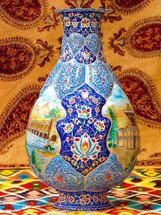 Persian Minakari :  Vitreous Enamel or Porcelain Enamel, is a material made by fusing powdered glass to a substrate by firing, usually between 750 and 850 °C (1,382 and 1,562 °F). The powder melts, flows, and then hardens to a smooth, durable vitreous coating on metal, or on glass or ceramics.   via: Hamid Dastmalchi - Google+