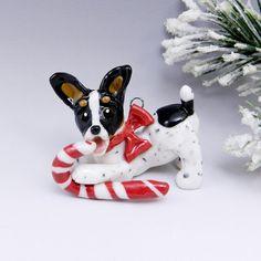Toy Fox Terrier Rat Terrier Ornament Candy Cane Porcelain