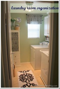 Like the idea of a small shelf right above the washer/dryer, beneath the larger storage cabinets. Might see if I can implement that in my laundry room.  :o)
