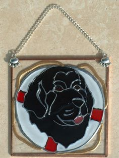 """Stained Glass Newfoundland Life Ring Ornament/Suncatcher"""