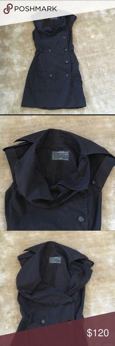 All Saints Shirt Dress Black Cotton All Saints Shirt Dress Black Cotton, double breasted, sleeveless. Size 8. Belt loops, missing belt. No mark, rips, stains, etc All Saints Dresses Midi
