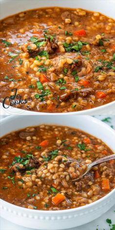 Hearty Soup Recipes, Easy Healthy Recipes, Beef Recipes, Vegetarian Recipes, Cooking Recipes, Barley Recipes, Beef Lentil Soup, Healthy Cooking Recipes, Gastronomia