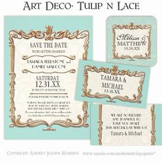 Elegant, sophisticated and timeless... that perfectly describes the Art Deco, Art Nouveau Style #Wedding #Invitation Set.  A complete suite of matching products is available and can be shipped within 24-48 hours!  No wedding is too small to deserve a custom design.  Available in a wide range of color ways.