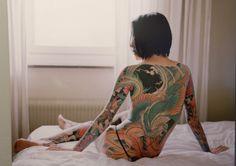 Japanese Dragon full Back Yakuza tattoo for girl