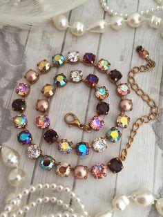 New: ARABIAN NIGHTS 8mm Swarovski Crystal Choker Necklace Swarovski Crystal Necklace, Swarovski Jewelry, Diamond Pendant Necklace, Swarovski Crystals, Crystal Jewelry, Bridal Necklace, Beaded Necklace, Necklaces, Bracelets