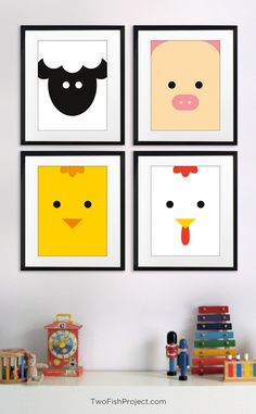 Cute, minimalist farm animal artwork for kid's room or baby nursery: (sheep, pig, chick & hen). Gender neutral wall art would be perfect for both boys and girls!