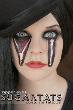 2014 New Style Zipper Eyes Temporary Tattoos Costume Halloween by SugarTats