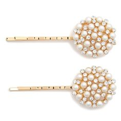 Tasha 'Cute as a Button' Bobby Pins (315 CZK) ❤ liked on Polyvore featuring accessories, hair accessories, hair, jewelry, white, tasha hair accessories, white hair accessories and beaded hair accessories