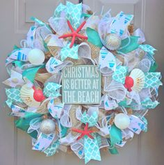 Christmas is Better at The Beach Burlap Deco Mesh Wreath with Sea Shells, Seashell Wreath, Beach Wreath, Starfish Wreath, Coastal Christmas