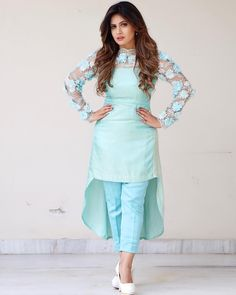suit mera att hi karave, utton chakvan pajama teri naar da !👌ku my beautiful nd creative friend Madhu Sharma for designing… Designer Party Wear Dresses, Kurti Designs Party Wear, Sleeves Designs For Dresses, Dress Neck Designs, Kurta Designs Women, Salwar Designs, High Fashion Dresses, Stylish Dresses, Frock Design