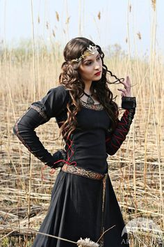 Black Medieval Dress Lady Hunter by armstreet on Etsy