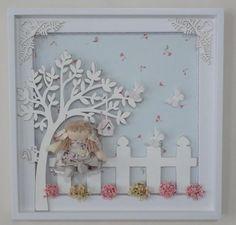Quadro para porta de maternidade com recorte em mdf, tecido 100% algodão, boneca feita à mão sob encomenda, personalisa-se com o nome da criança