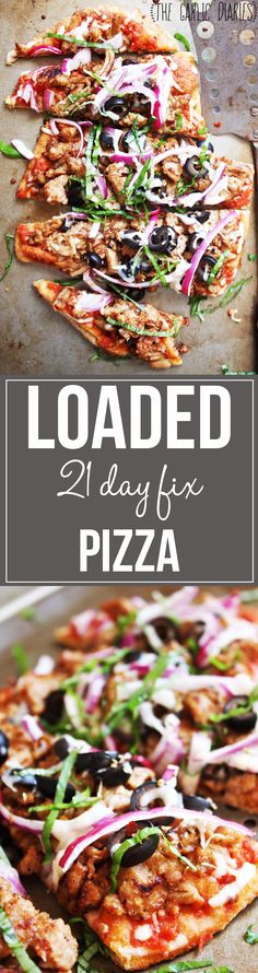 √ Loaded 21 Day Fix Pizza - This delicious pizza piled high with meat and veggies will trick your brain and stomach into thinking you are indulging in some good old junk food! TheGarlicDiaries  ■
