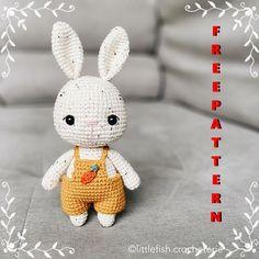 Crochet Rabbit Free Pattern, Easter Crochet Patterns, Crochet Amigurumi Free Patterns, Crochet Animal Amigurumi, Amigurumi Toys, Crochet Animals, Hello Kitty Crochet, Beginner Crochet Projects, Little Doll