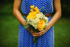 Patterned blue bridesmaids dresses from Anthropologie. Misato & Chris' quirky, handmade Northern Virginia wedding at a coffee shop. Images by Love By Serena