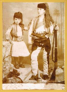 """Two Children of the Kurdish Noble Family Bedirxan. The Bedirxans were also still Followers of """"Yazdânism"""", the original Indo-Iranian religion of the Kurds until the 16th Century."""