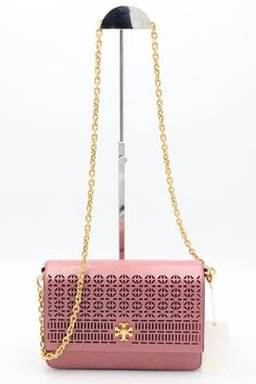 58ed200135b Details about NWT Tory Burch Kira Perforated Pink Leather Shoulder  Crossbody Bag New  558