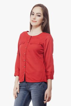 Red Rayon Top From Miss Queen.Shop Online