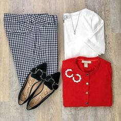 Style Inspiration Old Navy gingham pants, Sam Edelman Rochester flats, J.Crew Factory perfect tee, B Red Cardigan Outfits, Casual Outfits, Cute Outfits, Fashion Outfits, Womens Fashion, Fasion, Looks Style, Style Me, Style Blog