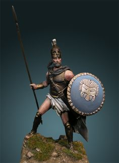 """Miniature of Greek Samian hoplite, his shield have the emblem of """"Samian Geomoron """" based of ancient coin. The emblem of shields was the flags for Greek Hoplites .His helmet and other equiepments similar to Spartan hoplite show the alliance Samos- Sparta those time"""