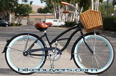 WANT!!!! Micargi Tahiti Pacific beach cruiser bicycle for women midnight blue with baby blue rims