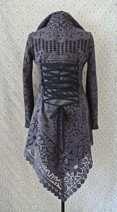 SaleGRAY LACE JACKET cardigan fleece crochet gypsy Steampunk
