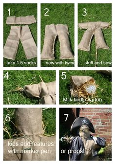 You need – 2 Hessian sacks (I bought mine online) Straw (from the pet shop), garden twine, an old plastic milk bottle, scissors, a darning needle, an old broom handle, a garden cane, marker pen, hat and props. 1. Cut one sack in half, from the bottom, to about two thirds of the way up …