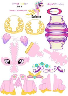 PaperCraft Royal Wedding Corect Cadence Part 1 by on DeviantArt My Little Pony Party, My Little Pony Craft, 3d Paper Crafts, Paper Toys, Diy And Crafts, Barbie Paper Dolls, Little Poney, Modelos 3d, Flower Coloring Pages