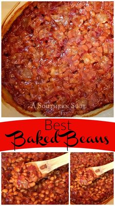 Baked Beans with smokey bacon flavor and a little sweet heat. They are the BEST and are a must make at any cookout!