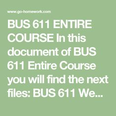 BUS 611 ENTIRE COURSE In this document of BUS 611 Entire Course you will find the next files:  BUS 611 Week 1 Assignment Article Review.docx BUS 611 Week 2 Assignment Project Risk.docx BUS 611 Week 3 Assignment WBS.docx BUS 611 Week 4 Assignment Integrated Project Management Tools.docx BUS 611 Week 5 Assignment Monthly Status Reports.docx BUS 611 Week 6 Final Research Paper.docx  $79.99 – Purchase