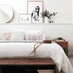 my scandinavian home: White and wood bedroom in Caitlin's bright, family beach home