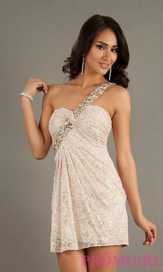 One Shoulder Homecoming Dress by Dave and Johnny 9096 at PromGirl.com