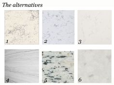 Granite, Quartzite and Engineered Quartz that replicate the look of marble for counters