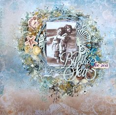 Scraps Of Elegance Scrapbook kits - mixed media vintage beach layout by Anna…