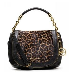 #PinLove You Never Met The Famous Michael Kors Stanthorpe Leopard Medium Black Shoulder Bags Like That In Here!
