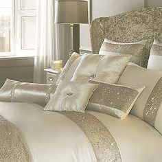 Kylie Minogue Duo Oyster Sequin in Oyster Cream Duvet Cover, Pillow cases Glam Bedroom, Bedroom Colors, Bedroom Sets, Home Bedroom, Bedroom Decor, Bedroom Rustic, Master Bedroom, Cream Duvet Covers, Bed Covers