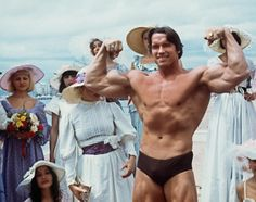 Arnie Pumping Iron at the Cannes Film Festival in 1977