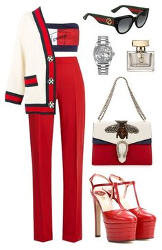 """""The Gucci woman can be the equestrian woman, the woman in the suit, the woman in the flowy bohemian dress, or the couture woman."" Blake Lively"" by zeineb-ayachi ❤ liked on Polyvore featuring Tommy Hilfiger, MaxMara, Gucci and Rolex"