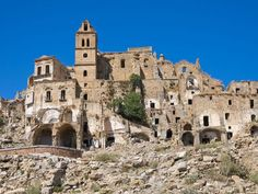 Famous as a film location, the city of Craco, Italy, was abandoned after numerous landslides, which destroyed entire houses. The city can be visited and hosted filming of The Passion of Christ or Quantum of Solace.   Photo Credit: Getty Images / iStockphoto