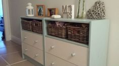 Rast uplifted for hallway - IKEA Hackers. Materials: RAST chest of drawers, EKBY LAIVA shelf, Byholma baskets