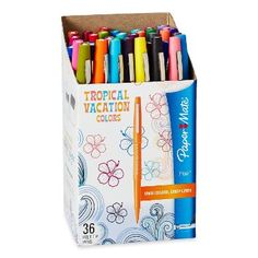Paper Mate Flair Porous-Point Felt Tip Pen, Medium Tip,  Limited Edition Tropical Vacation Colors, 36-Pack (1928608)